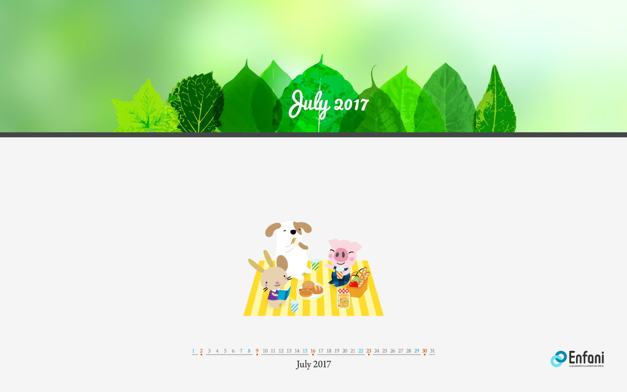 Desktop Calendar Wallpaper for July 2017