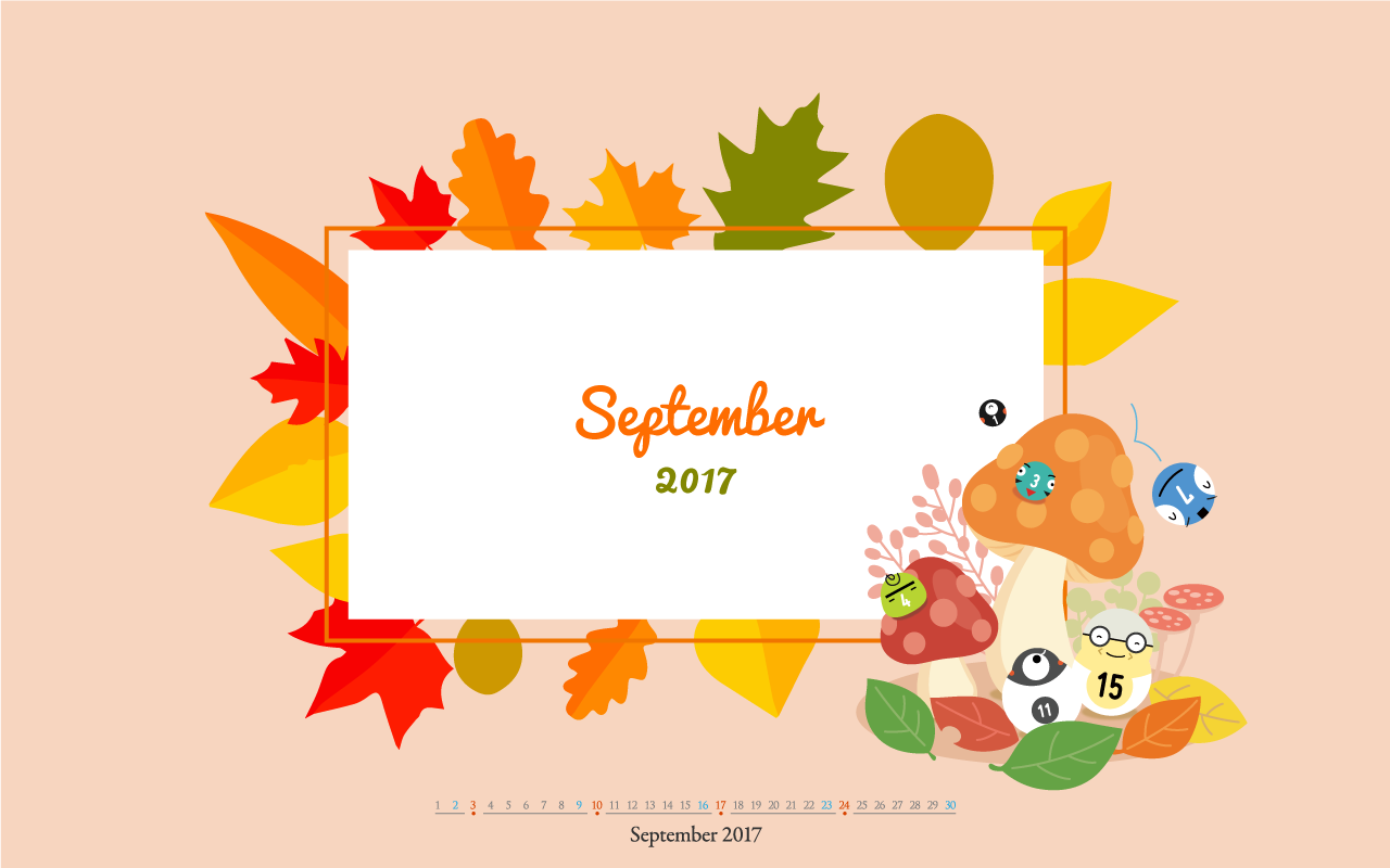 Desktop Calendar Wallpaper for September 2017